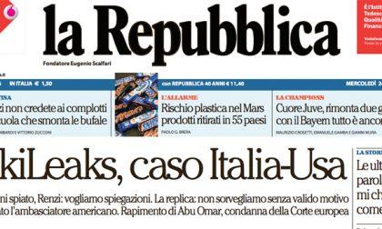 Le prime pagine dei giornali mercoledì 24 febbraio 2016