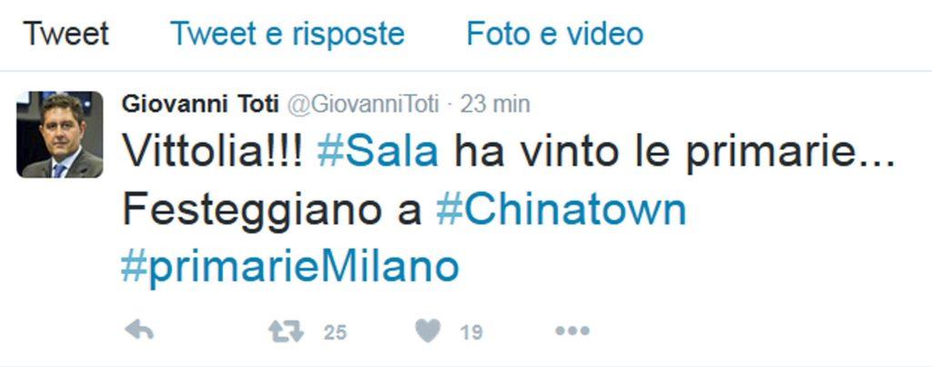 """Milano: Toti, vince Sala, a Chinatown dicono """"vittolia!"""""""