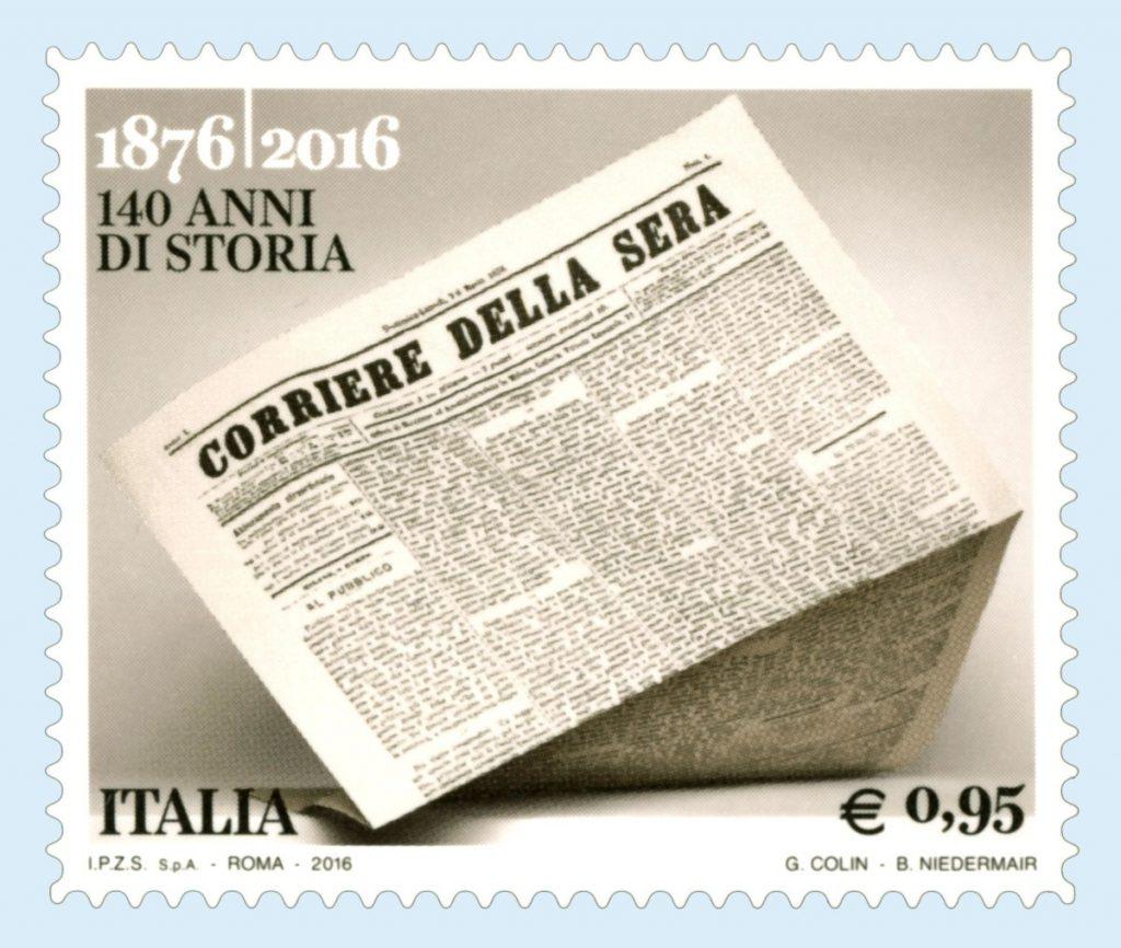 Editoria: la prima pagina del Corsera N.1 in francobollo
