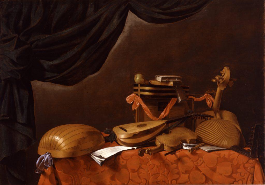 1.Evaristo Baschenis, Strumenti musicali e tendaggio nero. Accademia Carrara, Bergamo
