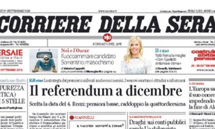 Le prime pagine dei giornali martedì 27 settembre 2016