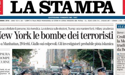 Le prime pagine dei giornali lunedì 19 settembre 2016