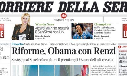 Le prime pagine dei giornali mercoledì 19 ottobre 2016
