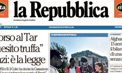 Le prime pagine dei giornali giovedì 6 ottobre 2016