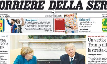 Le prime pagine dei giornali sabato 18 marzo 2017
