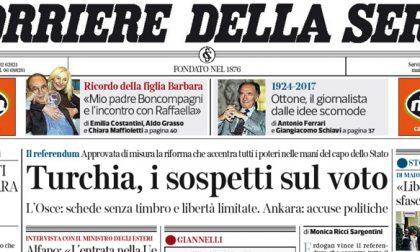 Le prime pagine dei giornali martedì 18 aprile 2017