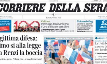 Le prime pagine dei giornali venerdì 5 maggio 2017