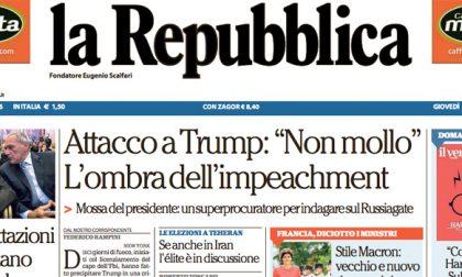 Le prime pagine dei giornali giovedì 18 maggio 2017