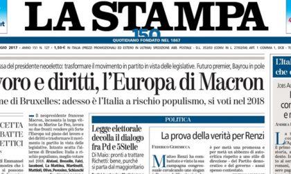 Le prime pagine dei giornali martedì 9 maggio 2017