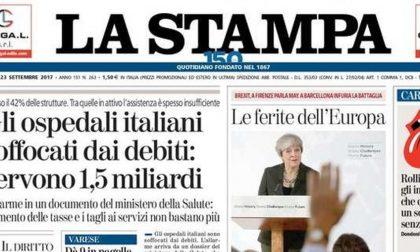 Le prime pagine dei giornali sabato 23 settembre 2017