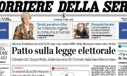 Le prime pagine dei giornali venerdì 22 settembre 2017