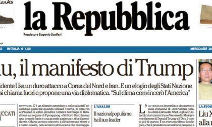 Le prime pagine dei giornali mercoledì 20 settembre 2017