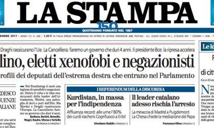 Le prime pagine dei giornali martedì 26 settembre 2017