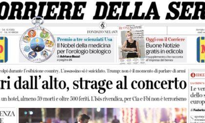 Le prime pagine dei giornali martedì 3 ottobre 2017