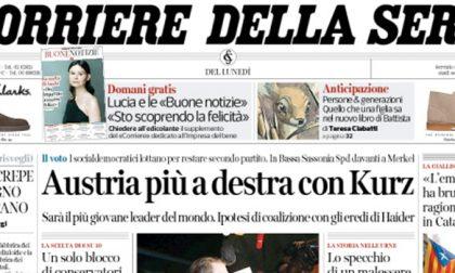 Le prime pagine dei giornali lunedì 16 ottobre 2017