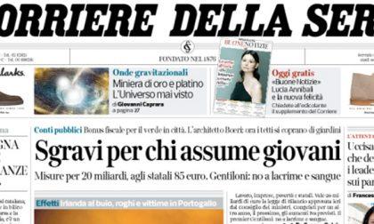 Le prime pagine dei giornali martedì 17 ottobre 2017