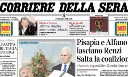 Le prime pagine dei giornali giovedì 7 dicembre 2017