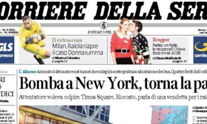 Le prime pagine dei giornali martedì 12 dicembre 2017