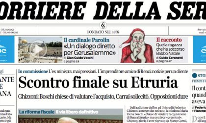 Le prime pagine dei giornali giovedì 21 dicembre 2017