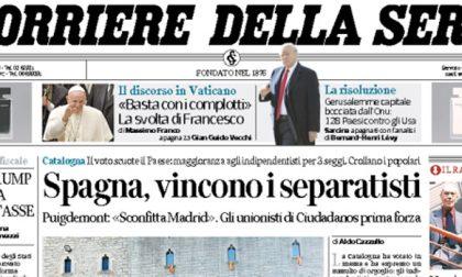 Le prime pagine dei giornali venerdì 22 dicembre 2017
