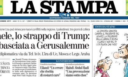 Le prime pagine dei giornali mercoledì 6 dicembre 2017