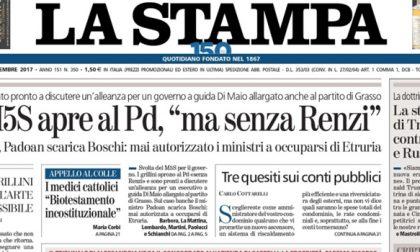 Le prime pagine dei giornali martedì 19 dicembre 2017