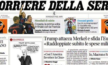 Le prime pagine dei giornali giovedì 12 luglio 2018