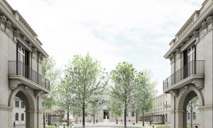 Piazza Dante, un ingresso circolare e scale con vetrate per l'ex Diurno