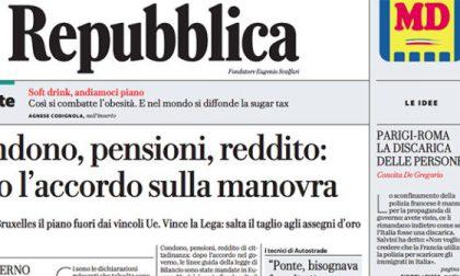 Le prime pagine dei giornali martedì 16 ottobre 2018