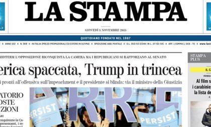 Le prime pagine dei giornali giovedì 8 novembre 2018
