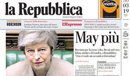 Le prime pagine dei giornali sabato 30 marzo 2019