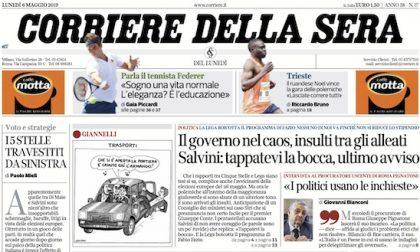 Le prime pagine dei giornali lunedì 6 maggio 2019