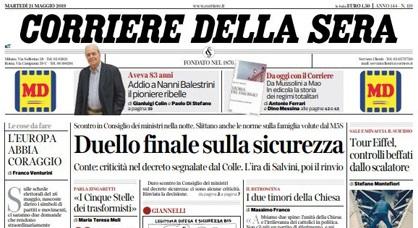 Le prime pagine dei giornali martedì 21 maggio 2019