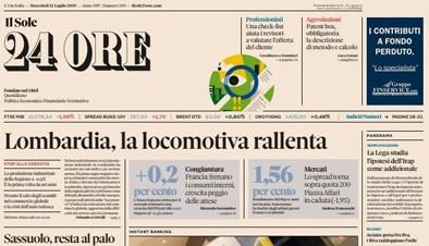 Le prime pagine dei giornali mercoledì 31 luglio 2019