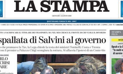 Le prime pagine dei giornali giovedì 8 agosto 2019