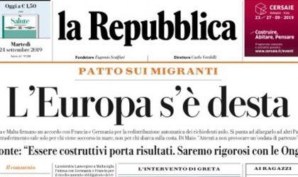 Le prime pagine dei giornali martedì 24 settembre 2019