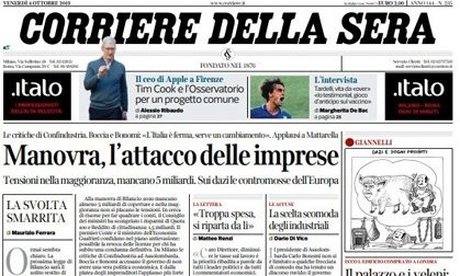 Le prime pagine dei giornali venerdì 4 ottobre 2019