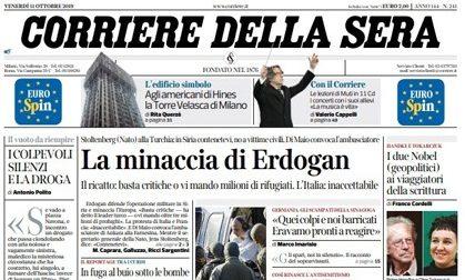Le prime pagine dei giornali venerdì 11 ottobre 2019