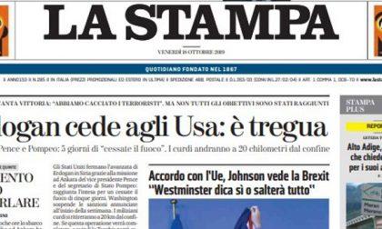 Le prime pagine dei giornali venerdì 18 ottobre 2019