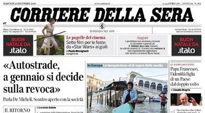 Le prime pagine dei giornali martedì 24 dicembre 2019