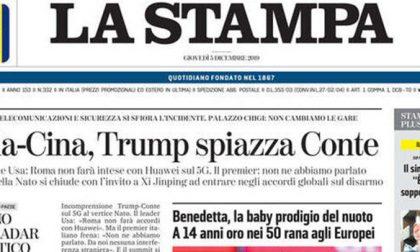 Le prime pagine dei giornali giovedì 5 dicembre 2019