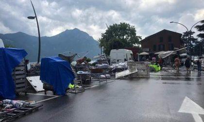 Maltempo nella Bergamasca: frana a San Giovanni Bianco e mercato distrutto a Lovere