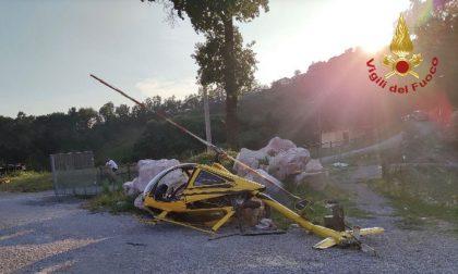 Elicottero monoposto cade durante il decollo. Illeso il pilota di 70 anni