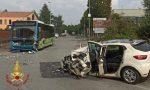 Frontale tra un autobus e un'auto a Sotto il Monte: ferito l'autista, ma non è grave