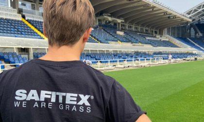 Il Gewiss Stadium sempre più green: a bordo campo il manto riciclabile fatto a Gandino