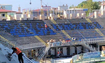 Seggiolini nerazzurri nella Morosini al Gewiss Stadium: in attesa della Uefa, che colpo d'occhio!