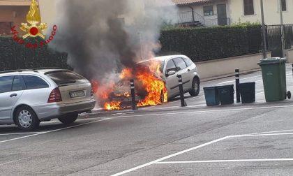 Nota alcuni problemi elettrici e accosta: l'automobile prende fuoco. Nessun ferito