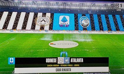 Udinese-Atalanta non si gioca: pioggia torrenziale e campo allagato, rimandata al 2021