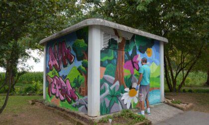 A Cavernago il murales dei ragazzi per abbellire la grigia cabina dell'Enel
